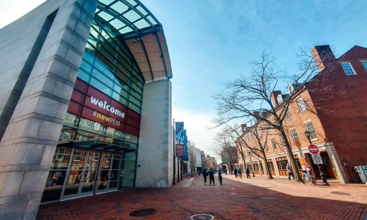 The entrance of the Peabody Essex Museum on Essex Street in Salem, Massachusetts