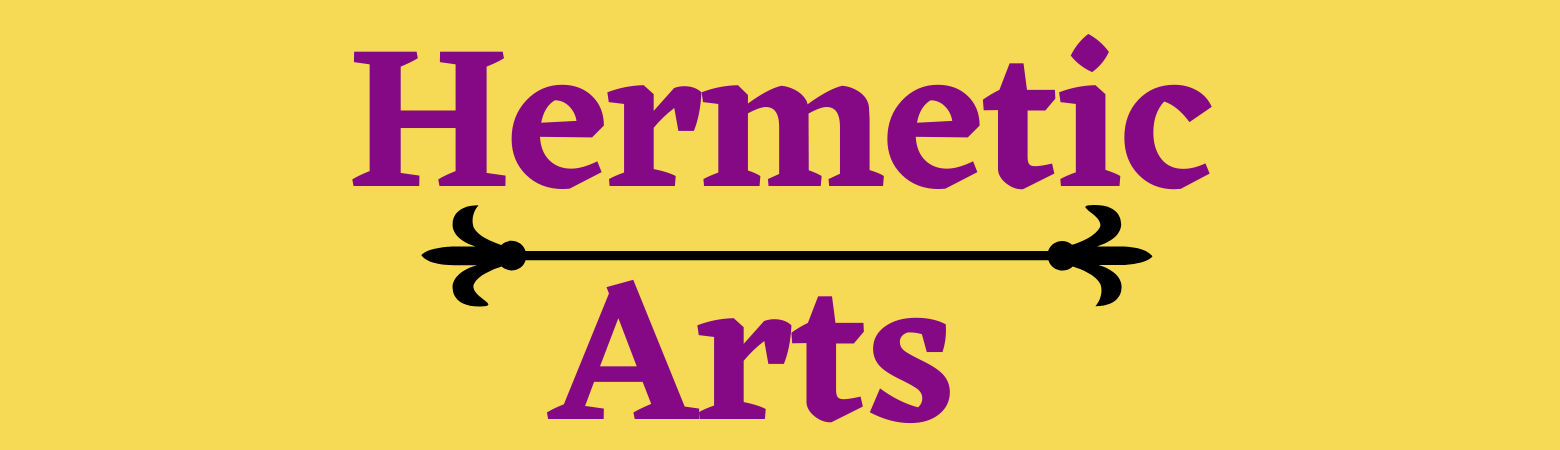 """Text """"Hermetic Arts"""" in pink with a yellow background"""