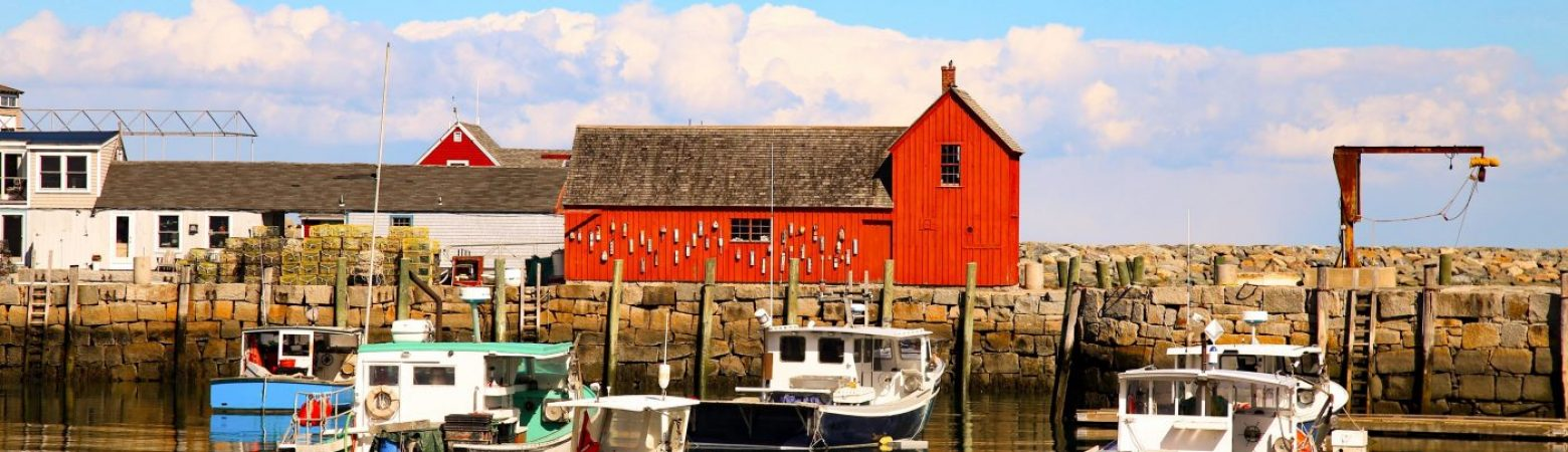 The historic red barn in Rockport, Massachusetts overlooking the water