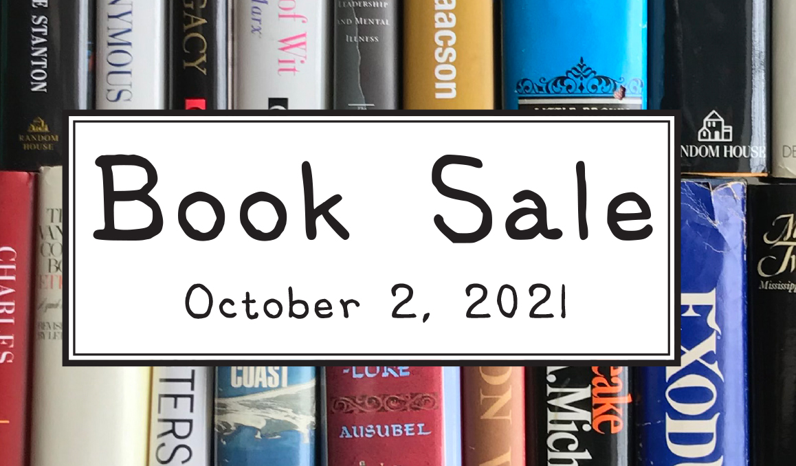 """Books with text """"Book sale October 2nd, 2021"""""""
